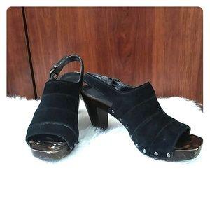 a.n.a black suede slingback peep toe heels size 7